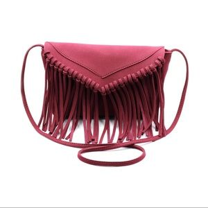 Red fringed suede shoulder small purse